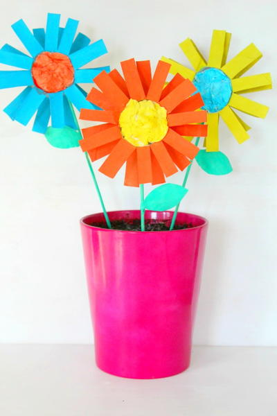 DIY Paper Flowers Kid Craft