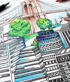 Cityscape Adult Coloring Page