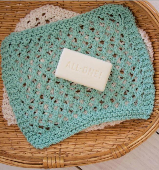 Knitted Baby Washcloths Free Patterns : Seafoam Knit Washcloth Pattern AllFreeKnitting.com