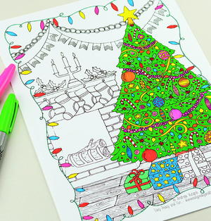 Merry Tree Adult Coloring Page
