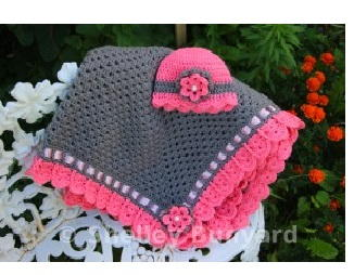 Preciously Pink Easy Baby Blanket and Hat