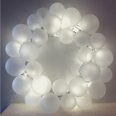 Light Up Frosted Glass Ball Wreath