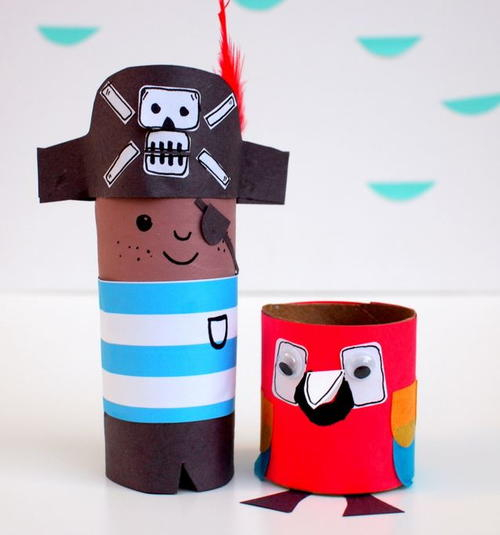Pirate and Parrot Toilet Paper Roll Crafts