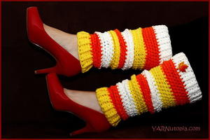 Candy Corn Crochet Leg Warmers