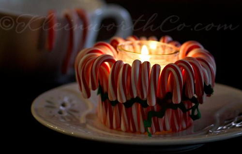 Candy Cane Candle Craft