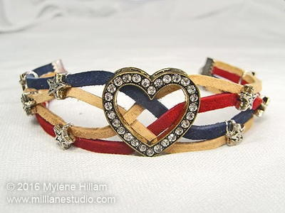 Stars and Stripes Leather Bracelet