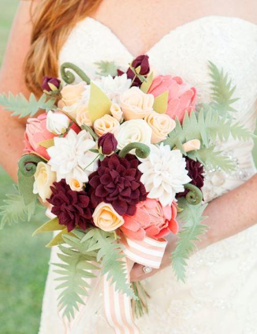 Felt Flower DIY Wedding Bouquet | AllFreeDIYWeddings.com