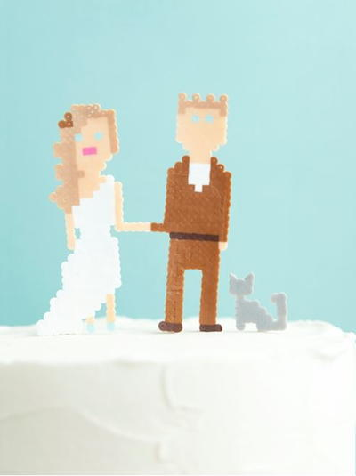 Geeky Perler Bead Cake Toppers