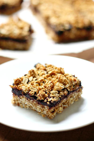 Peanut Butter  Jelly Crumble Bars