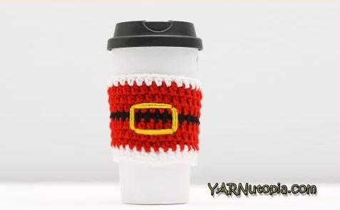 Santa Buckle Crochet Cup Cozy