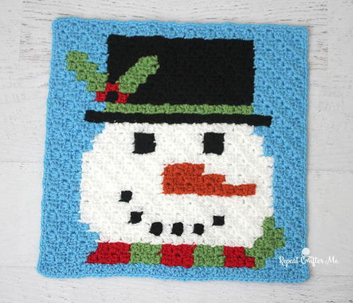 Have a Pixel Christmas Snowman Square
