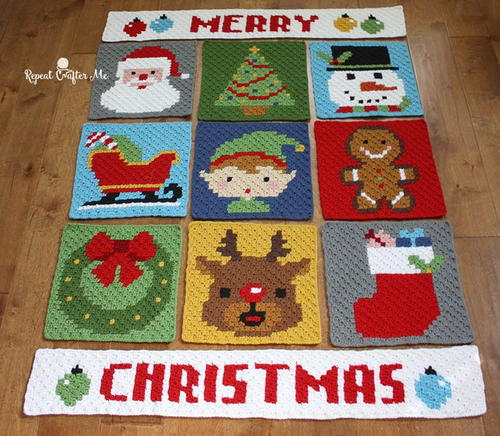 Christmas Crochet Blanket Free Pattern.Have A Pixel Christmas Crochet Blanket Pattern