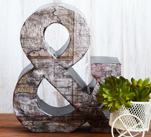 Vintage Map Decorative Letter Art