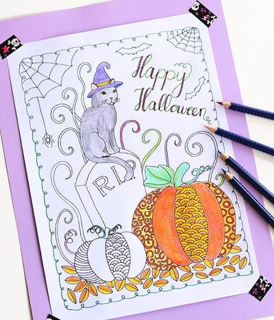 Scary Halloween Coloring Pages Adults : 5 halloween coloring pages for adults free ebook favecrafts.com