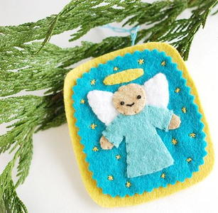 Embroidered Angel Felt Ornament