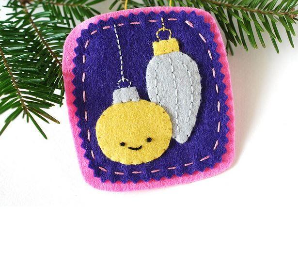 Embroidered little ornaments diy felt ornament