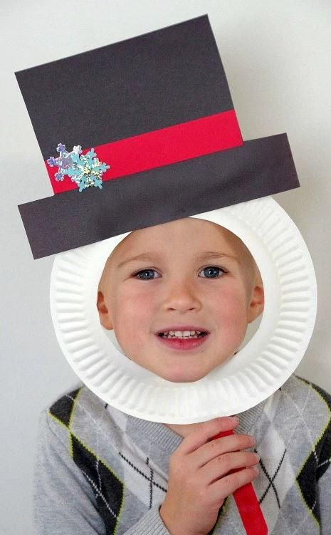 Snowman Paper Plate Mask Craft