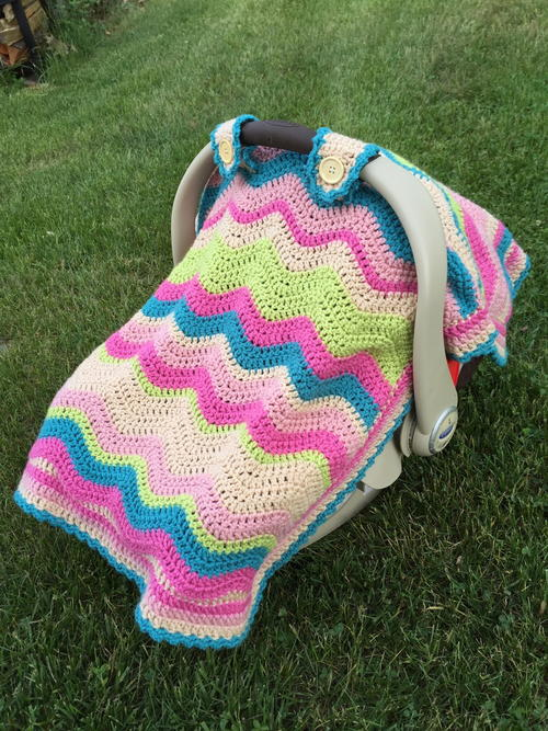 Crochet Ripple Car Seat Cover