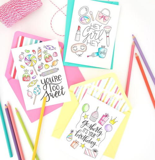 Sweet Birthday and Thank You Printable Coloring Cards