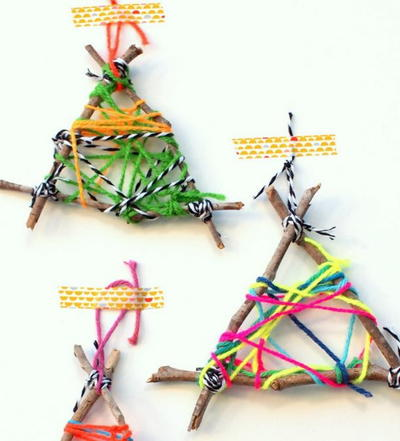 Twig String Art Christmas Ornament Crafts