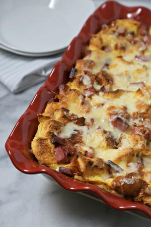 Savory Croque Madame Bread Pudding