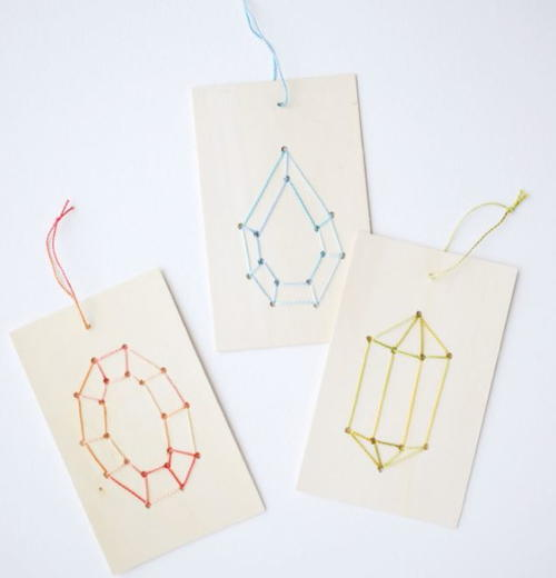 Embroidered Gemstone Wood DIY Christmas Ornaments