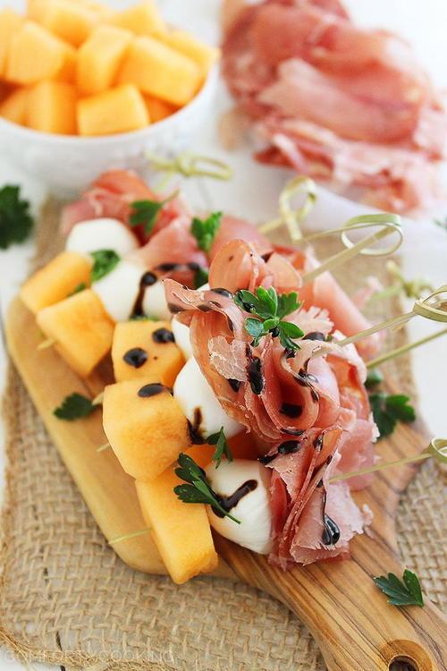Melon, Proscuitto, and Mozzarella Skewers