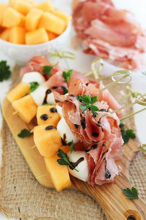 Melon, Proscuitto, and Mozzarella Skewers