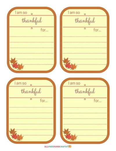 Allfreepapercrafts Com: Thankful Notes Thanksgiving Printables