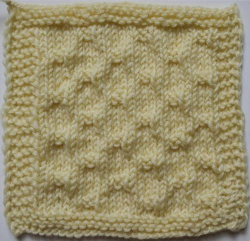 Dots on Stockinette Stitch Square