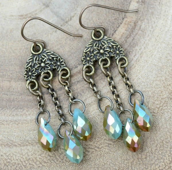 Crystallized Chandelier Drop Earrings