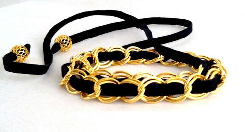 Black and Gold Woven Wrap Bracelet