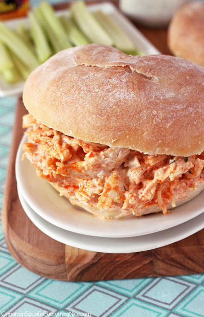 Slow Cooker Buffalo Chicken Sandwiches with Cheddar and Ranch Dressing