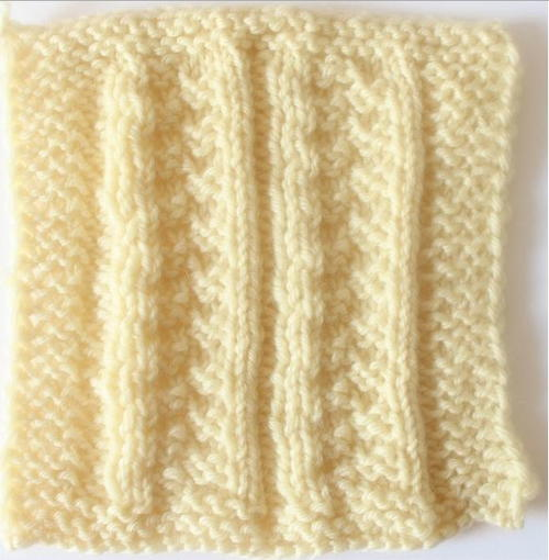 Ribbed Basketweave Stitch Square