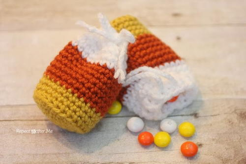 Candy Corn Crochet Pouch