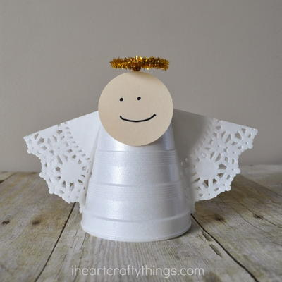 Simple Foam Cup Christmas Angel