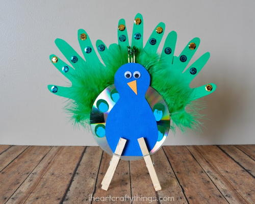 Spectacular Recycled CD Peacock