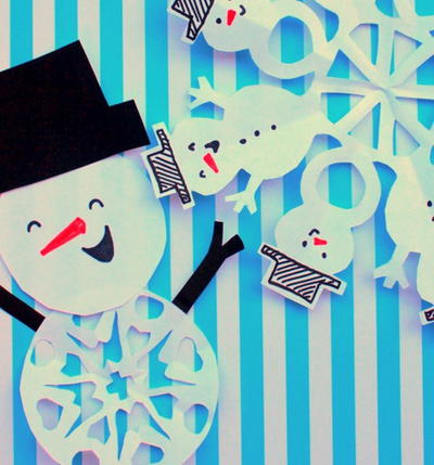 Paper Snowman Snowflake Patterns