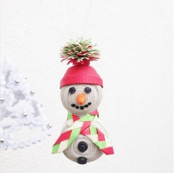 Tiny Quilled Snowman DIY Ornament