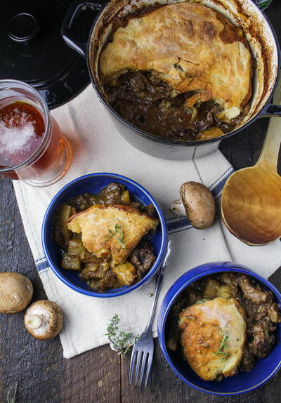 British Beef Ale and Mushroom Pot Pie Recipe