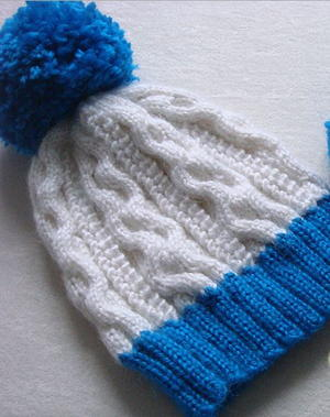 Popcorn Stitch Cable Hat