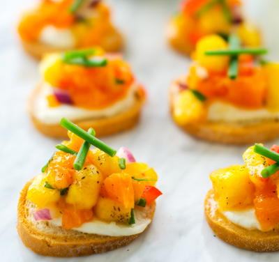Goat Cheese Crostini with Peach Salsa