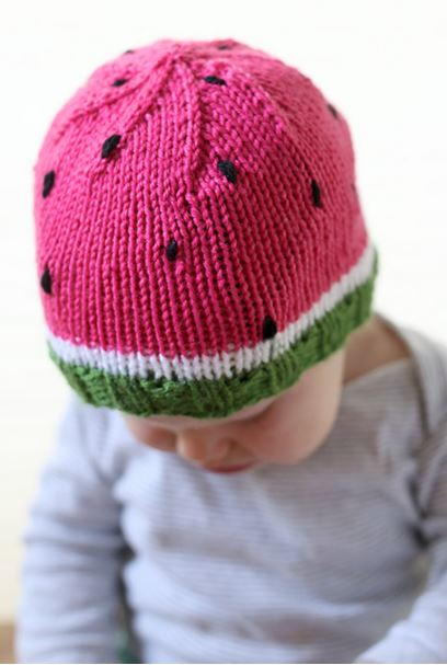 Watermelon Baby Hat Pattern AllFreeKnitting.com