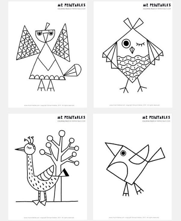 Abstract Bird Coloring Pages : Free printable abstract bird coloring pages