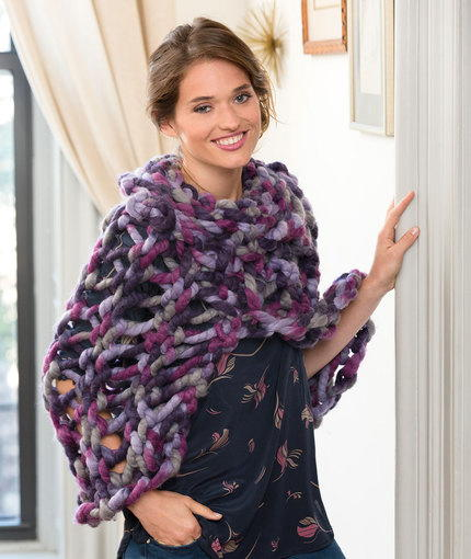 Quick Purple Knitted Poncho