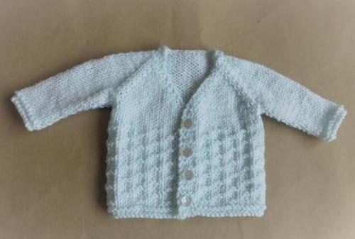 Powder Blue Baby Cardi AllFreeKnitting.com