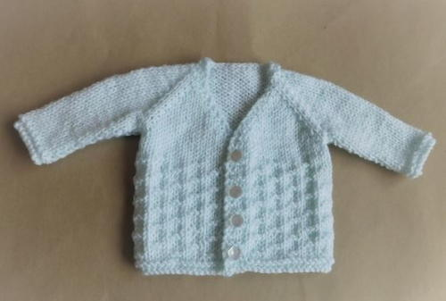 Free Knitting Pattern For Baby V Neck Cardigan : Powder Blue Baby Cardi AllFreeKnitting.com