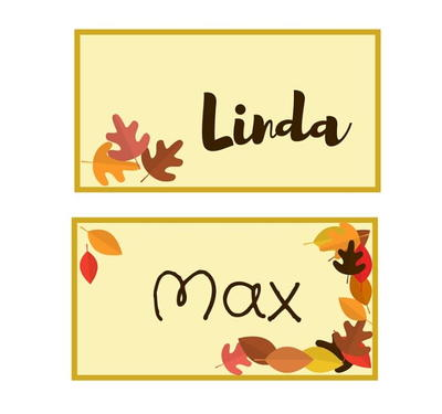Autumn Leaf Printable Place Cards