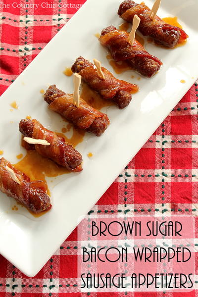 Brown Sugar Bacon Wrapped Sausage Appetizers