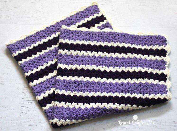 Boldly Purple V Stitch Blanket